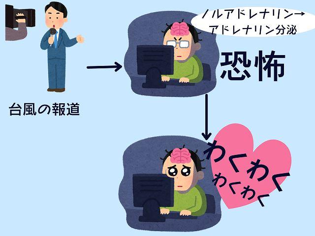 台風報道をわくわくに感じる人のイメージ画像
